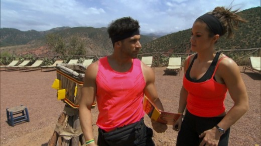 Wrestlers Robbie & Brooke decide who is going to do the Roadblock.