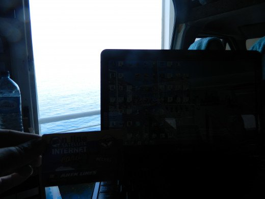 With a laptop you can work anywhere these days. This is on a ferry from Greece to Venice.