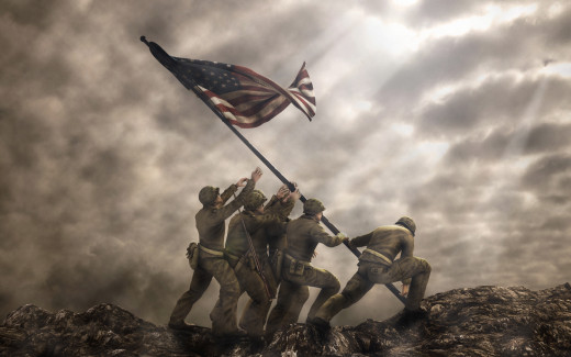 American Army Raising World War 2 Flag
