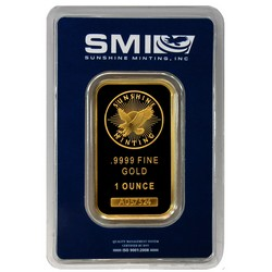 Gold Bar in Assay Case - Front View.  Sunshine Mint Design.