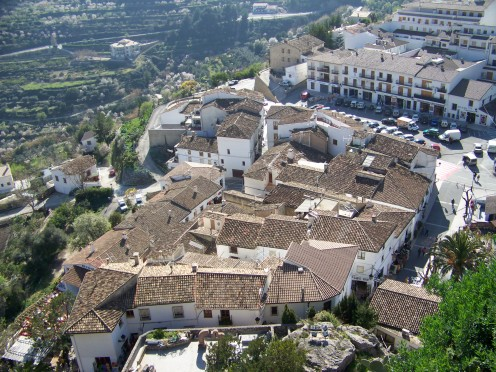 This is a view of the older buildings in the lower part of Guadalest seen from the castle.