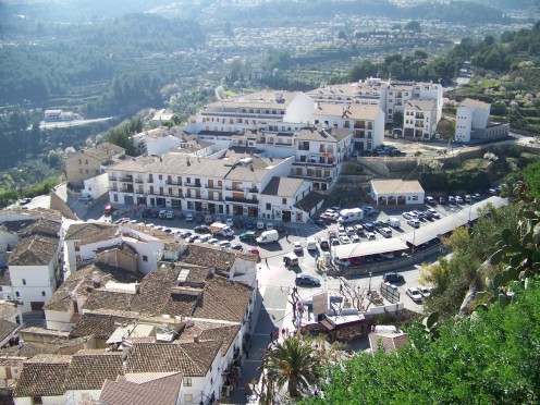 This is a view of the more modern lower part of Guadalest seen from the castle.