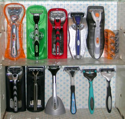 Collection of modern cartridge razors