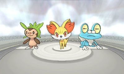 The three Pokémon X and Y starters - Fennekin, Froakie, and Chespin.