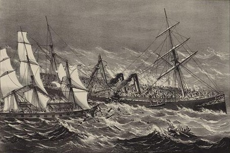 The sinking of the Steamship Ville du Havre.