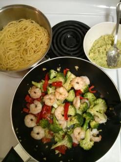Avocado and Shrimp Pasta