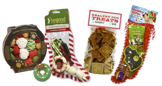 Left to Right: Canine Cuisine Christmas Cookies, Doggie Wreath Cupcake, BeGood Rawhide Filled Dog Christmas Stocking, Healthy Dog Naughty or Nice Treats, Dog Gift Stocking with Toys and Treats. All available at