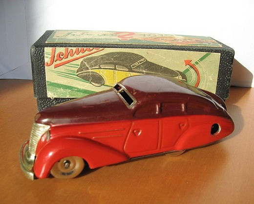 A collectable model car by Schuco complete with its box - from the 1950s