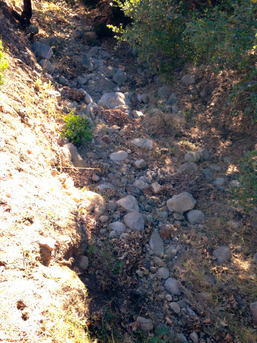 This dried up creek in Montecito along with others are just rock gardens now.