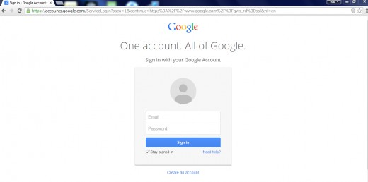 Here is where you will log in each time you visit Google, I would suggest choosing to stay logged in.