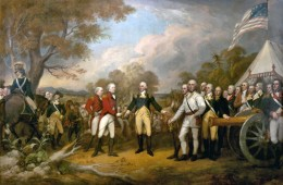 British General John Burgoyne offering surrendering to American General Horatio Gates following British Loss at Battle of Saratoga - This victory did much to convince European governments that the colonists were a formidable foe of Britain in the war