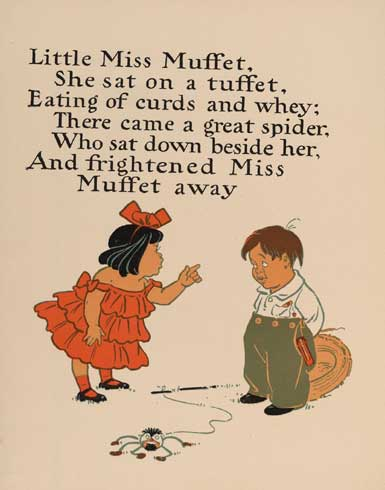 Little Miss Muffet 1 - Illustration by w:en:William Wallace Denslow from the Project Gutenberg EBook of Denslow's Mother Goose, by Anonymous