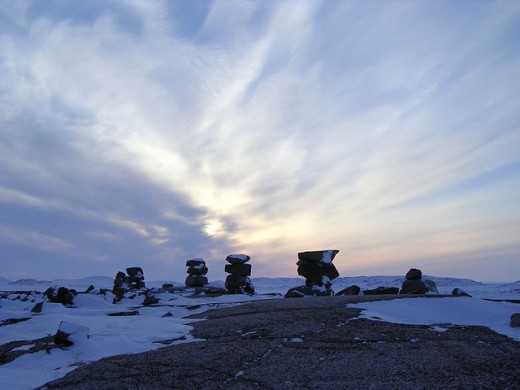 Kugaaruk, Nunavut, Canada. These structures guide native travelers. Many are located in Mallikjuaq Territorial Park.