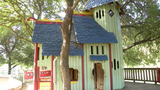 Beautiful Playhouse at the playground for Katherine Fleischer Park Wells Branch Austin Texas