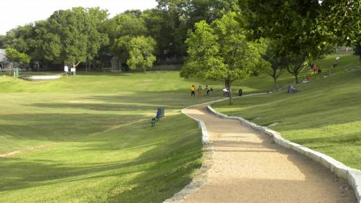 Landscaped walking trails at Katherine Fleischer Park Wells Branch Austin Texas