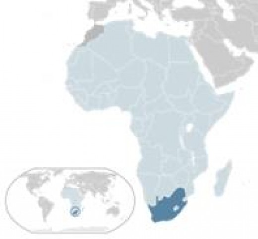 South Africa - the little dark-blue area at the bottom of Africa
