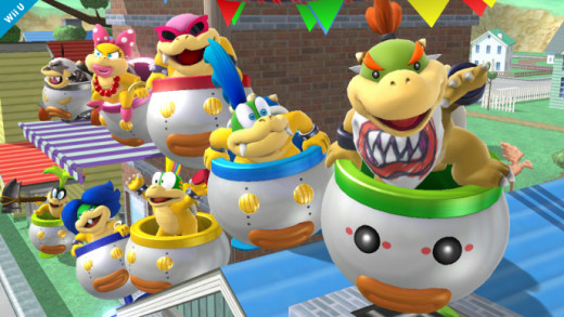 Bowser Jr. (far right) and the seven Koopalings, in an eight-player Smash map