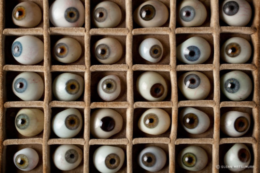 A cabinet of glass eyes