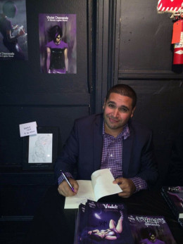 The author at Violet Descend's book launch event at the Producer's Club in Midtown Manhattan on November 1st.