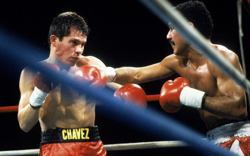 Julio Cesar Chavez had to work hard to get the victory over hard punching Edwin Rosario.
