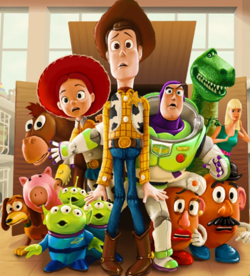 Woody, Buzz Lightyear and the gang in a scene from Toy Story 3.
