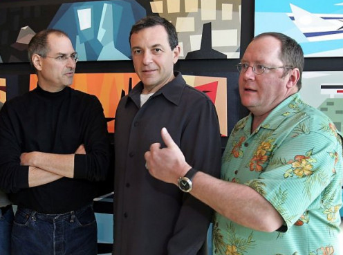 Steve Jobs, Robert Iger and John Lasseter, Lasseter was fired from Disney Animation in the 1980s when he suggested using computers to enhance hand-drawn animation. Lasseter now heads both Pixar and Disney Animation.
