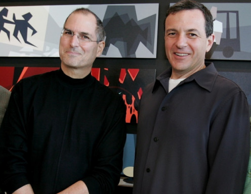 A happier Steve Jobs with the new head of The Walt Disney Company Robert Iger, who offered Jobs $7.4 billion of Disney stock to buy Pixar.