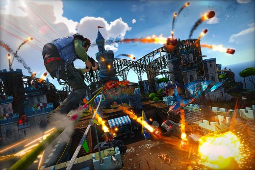 Sunset Overdrive's generous lock-on allows you to take out loads of enemies while speeding away.