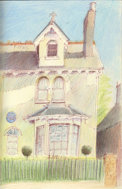 "'Fernlea' in Cookham, birthplace and childhood home of Stanley Spencer.  11.5"" x 8.5"", pen and sepia ink and coloured pencil sketch in Daler Rowney sketchbook copyright Katherine Tyrrell"