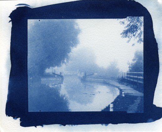 Mist at Parndon Lock, Cyanotype