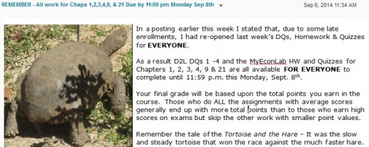 "A tortoise and reference to Aesop's ""Tortoise and Hare"" fable used for Second Week's Assignment due Reminder"