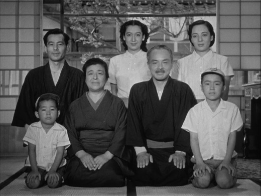 The cast of Ozu's Early Summer (1951): (L to R, top) Chishu Ryu, Setsuko Hara, Kuniko Miyake; (L to R, bottom) Isao Shirosawa, Chieko Higashiyama, Ichirô Sugai, Zen Murase