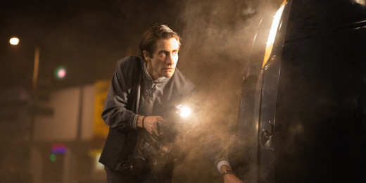 "Louis Bloom (Jake Gyllenhaal) moves in for a shot in a scene from ""Nightcrawler""."