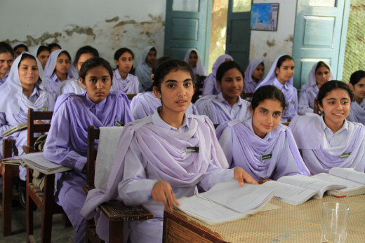 Girl students in KPK province. While I attended a co-education program in the same region, my classroom might have resembled this environment.