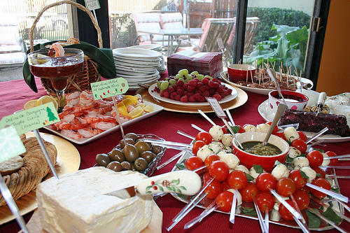 Party Food on Round Buffet Table (Photo courtesy by marytsao from Flickr)