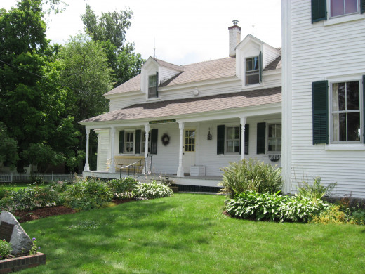 Beautiful colonial era houses line the street in the village of Wakefield.