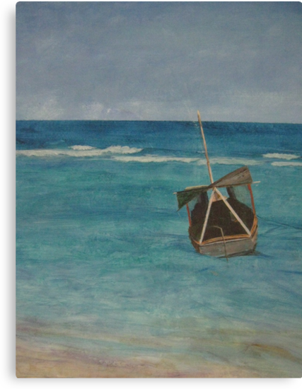 Imagine the potential of the day. Can you see into forever in this acrylic painting? This image encapsulates serenity and the deep feeling of release that escape brings. Coast of Cuba.