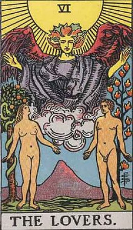 """""""The Lovers"""" card from the Rider-Tarot deck. The image on the card is in the public domain."""