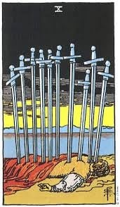The Ten of Swords card is symbolic, not literal.