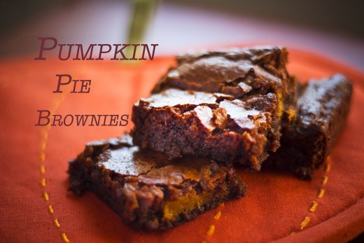 Chocolate brownies flavored with pumpkin pie filling.