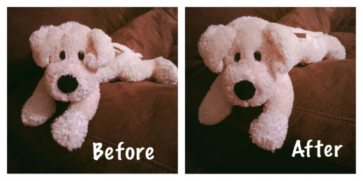 Brushing a stuffed animal really brings it back to life.