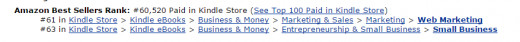 current amazon ranking for Web Marketing - Small Business