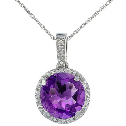 Naturally Vibrant Amethyst with Genuine Diamond Accents and 10K Solid Gold