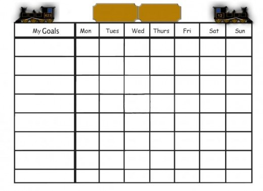 Train-themed goals chart.