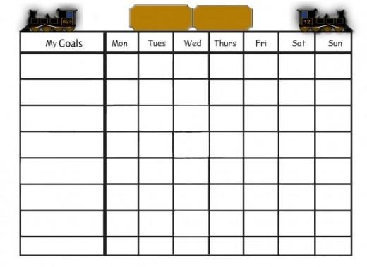 Train-themed goals chart.