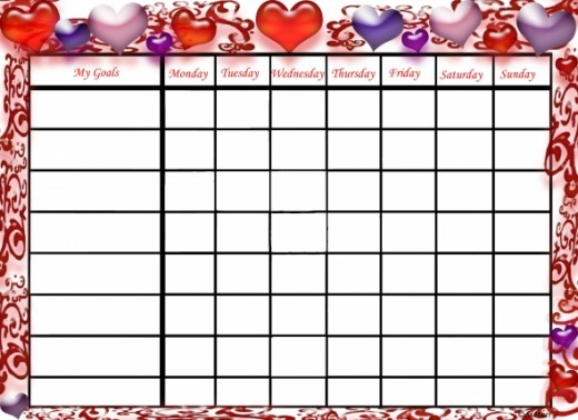 Valentine's Day goals chart.
