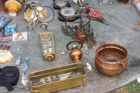 Antique items can be found in flea markets and garage shops, as well as more serious dealers.