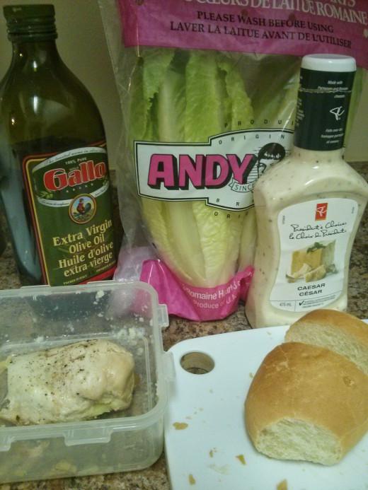 Olive oil, lettuce, chicken, caesar dressing, bread