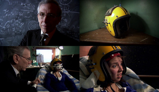 Neuroscientist Michael Persinger (pictured top right) who is mostly attributed to experimentation with the 'God Helmet' (top right); Persinger with a sensory deprived participant (bottom left); test subject wearing the God Helmet.