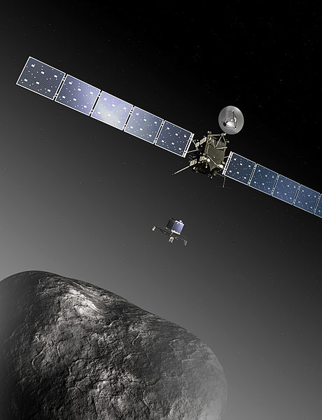 Artist's impression of the Rosetta orbiter deploying the Philae lander to comet 67P/Churyumov–Gerasimenko.